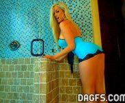 Gisele in blue lingerie