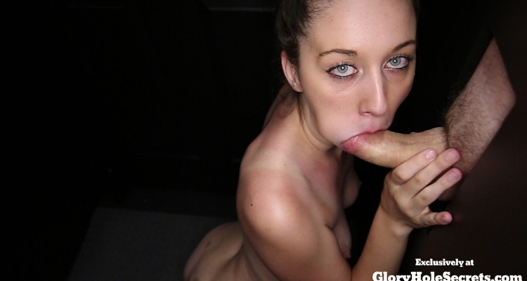 Layla sucking dick and swallowing cum at the glory hole