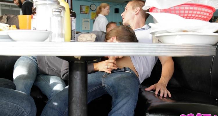 Crazy public blowjob in a diner