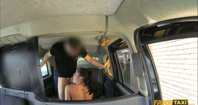 Sexy Hungarian slut sucks cock in the taxi cab
