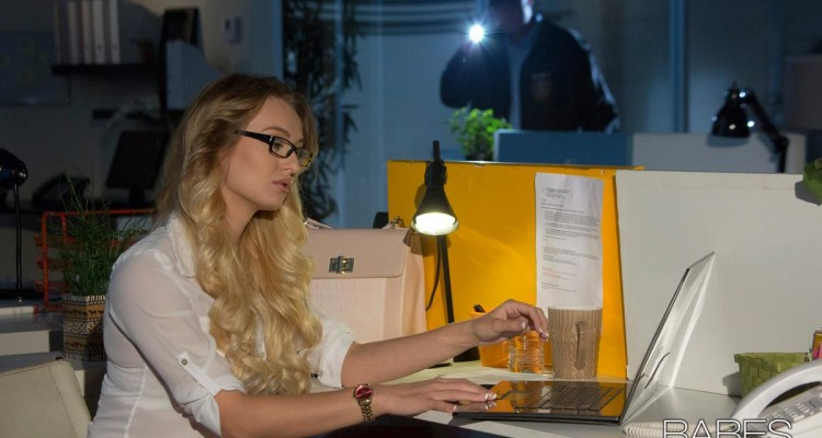 Natalia Starr working late at Office Obsession