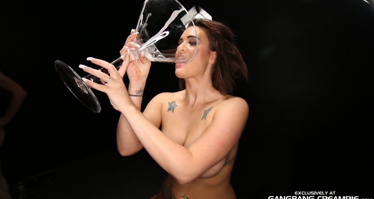Bashka swallows a cocktail glass of jizz