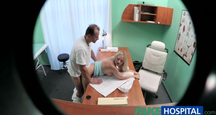 Blonde gets bent over her doctor's desk