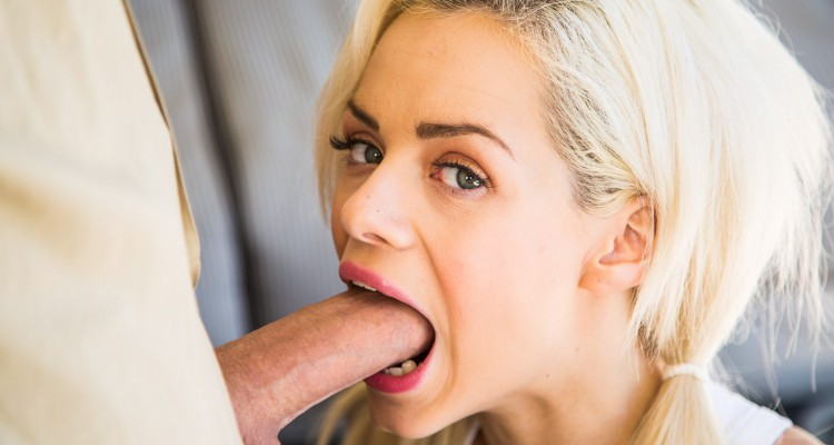 Blonde student gets her mouth fucked by tutor