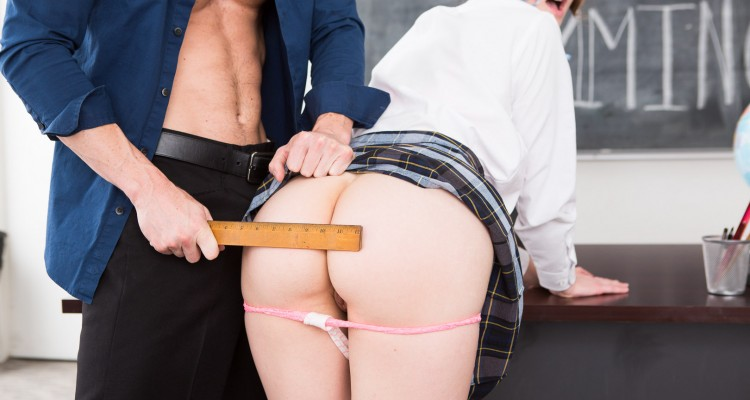 Schoolgirl spanked with ruler