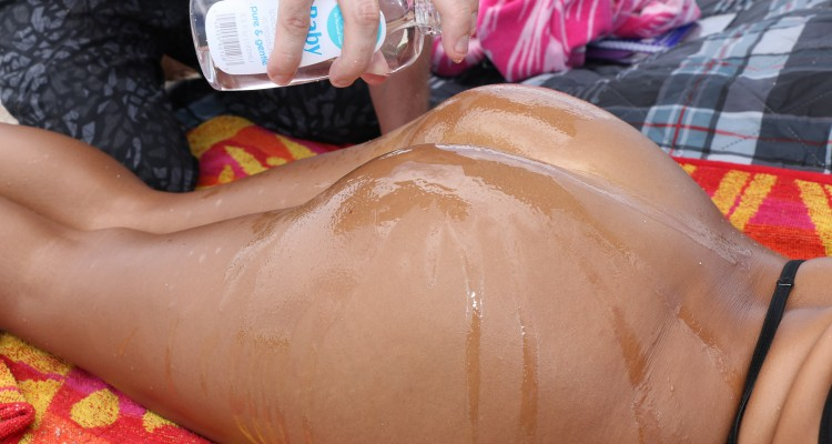 Chanel Collins gets her ass oiled up