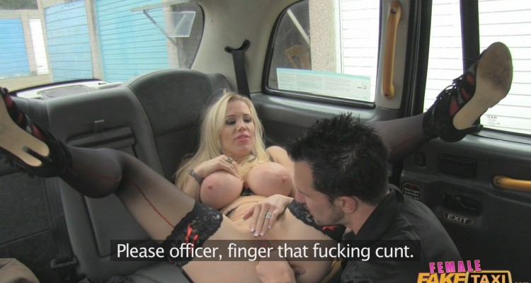 Rebecca gets fingered by a police officer