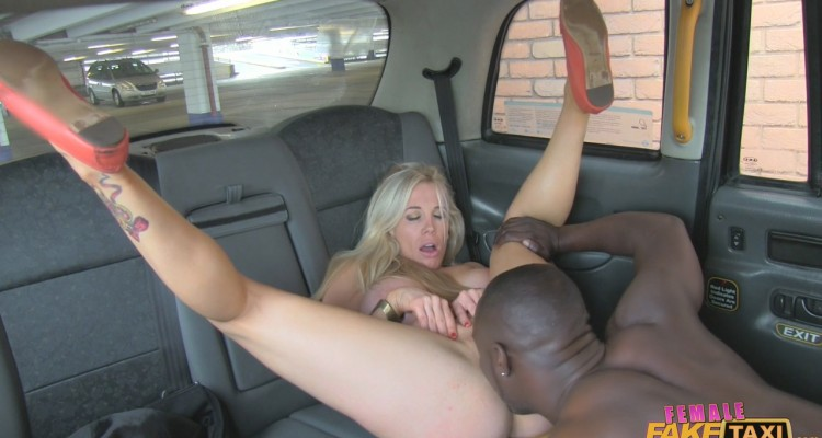 Busty blonde gets her pussy eaten by a Black man