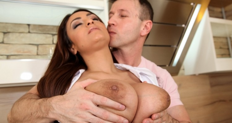 Sandra Milka getting her big tits felt up