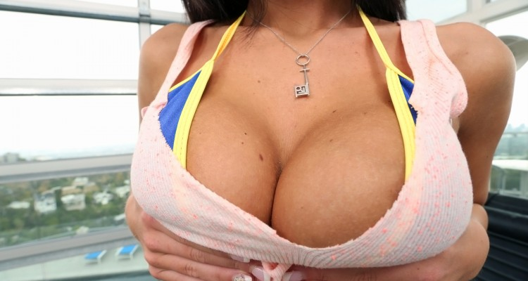 Whitney Westgate squeezing her big breasts