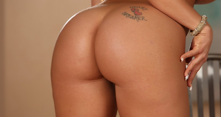 Close-up shot of Richelle's round ass
