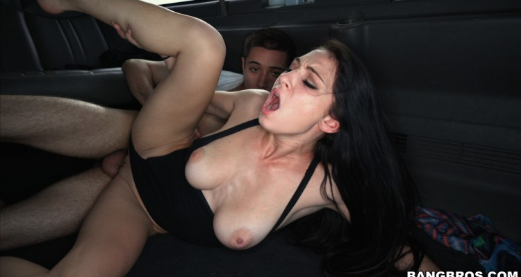 Hot brunette takes ride in bang bus