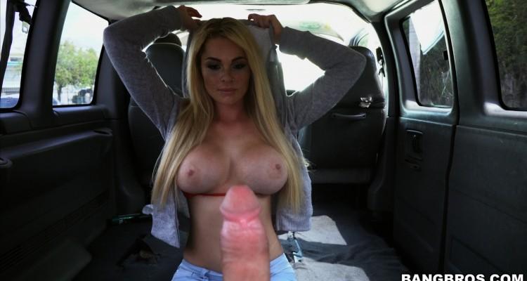 Skyla Novea stares down a big cock