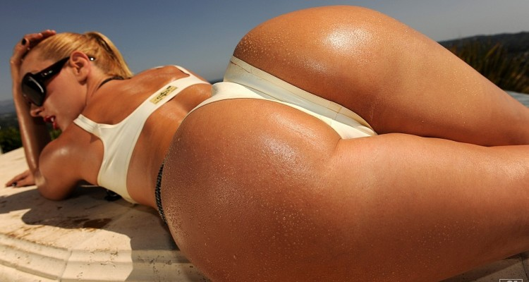 Close-up of Sandy's perfect round ass