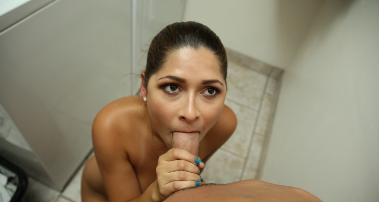 Housekeeper on her knees with mouthful of dick