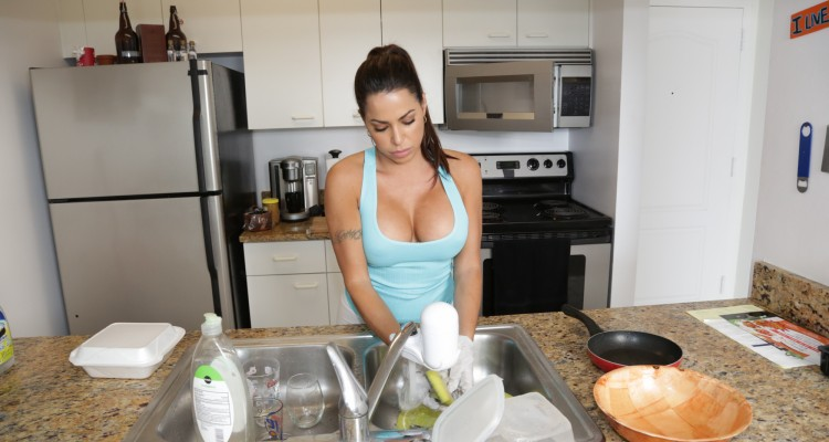 Julianna Vega does the dishes at My Dirty Maid