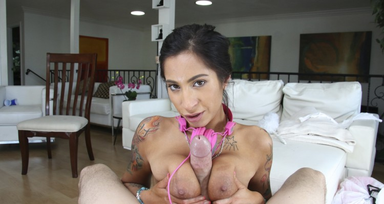 Tattooed Latina Stacy Jay with a big dick between her tits