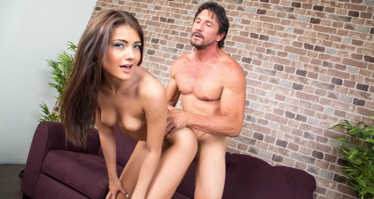 Petite brunette babe Adria Rae fucked live on webcam