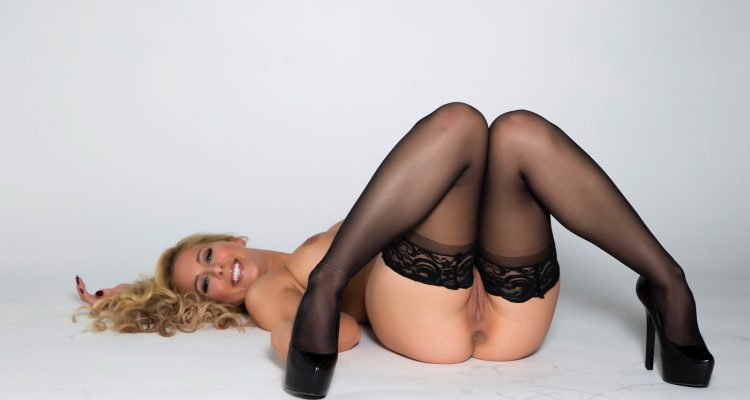 cherie deville in sheer stockings and high heels