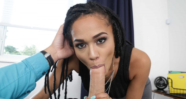 ebony babe blows her boss