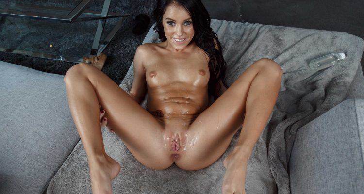 Megan Rain covered in cum